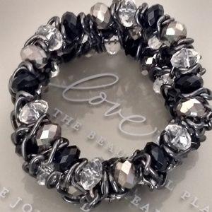 Chunky Stretch Metal Chain & Bead Bracelet